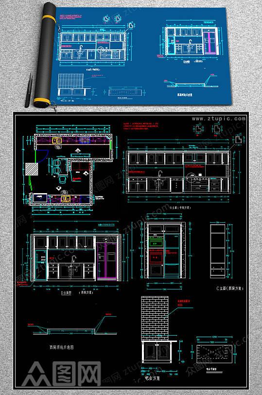 实木整体橱柜CAD模版-众图网