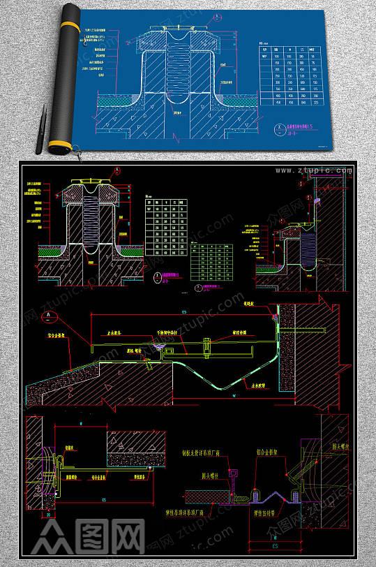原创室内变形缝cad图纸-众图网