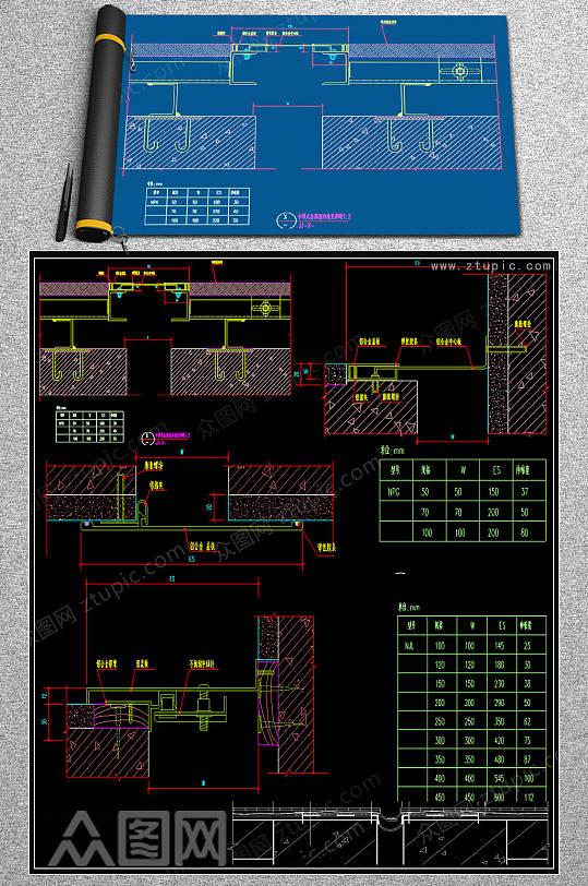 原创室内变形缝cad节点图纸.-众图网