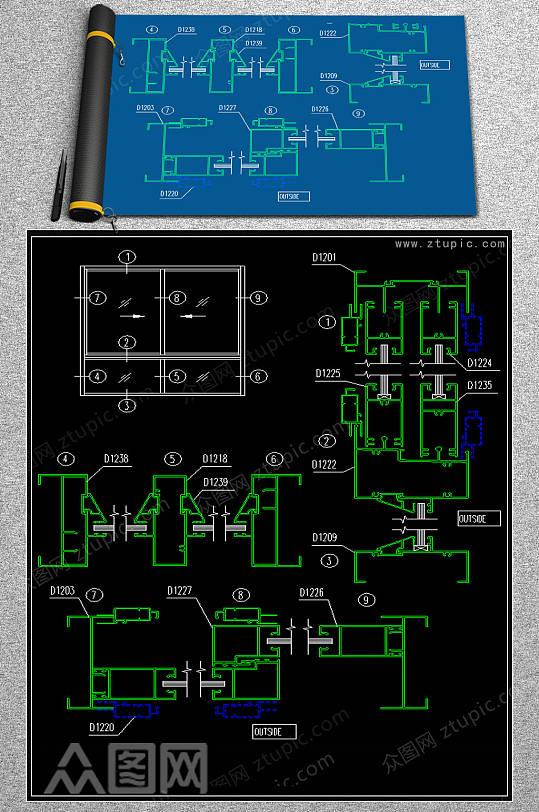 最齐全的推拉窗CAD节点图-众图网