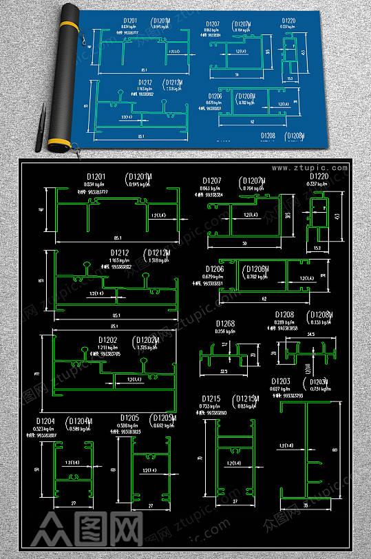 原创推拉窗CAD素材-众图网