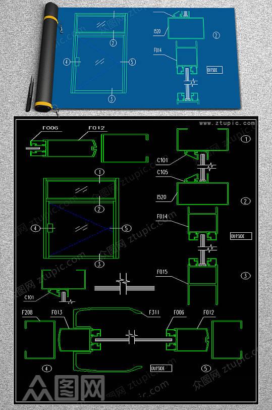 原创系列地弹门CAD模版-众图网