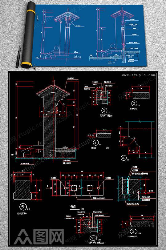 原创门楼CAD素材-众图网