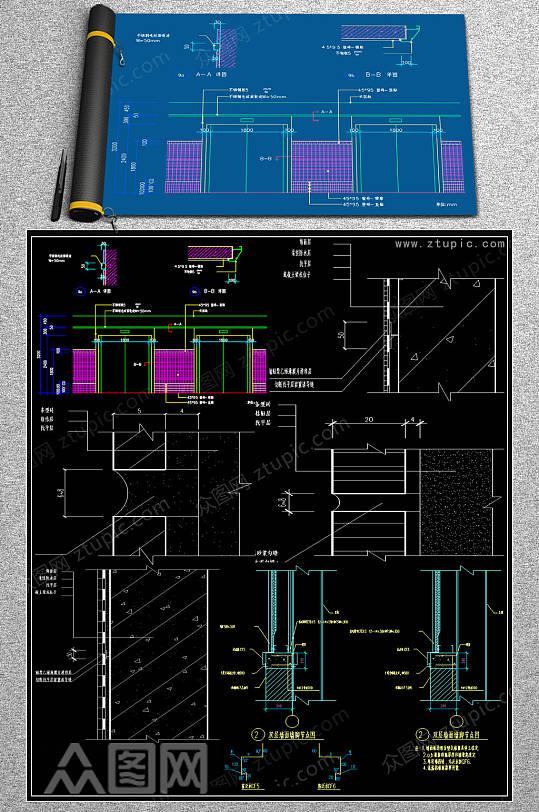 原创工装家装节点大样CAD施工图-众图网