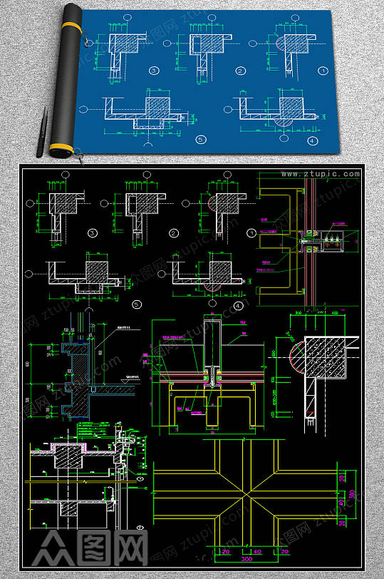 原创裙楼节点CAD施工图-众图网