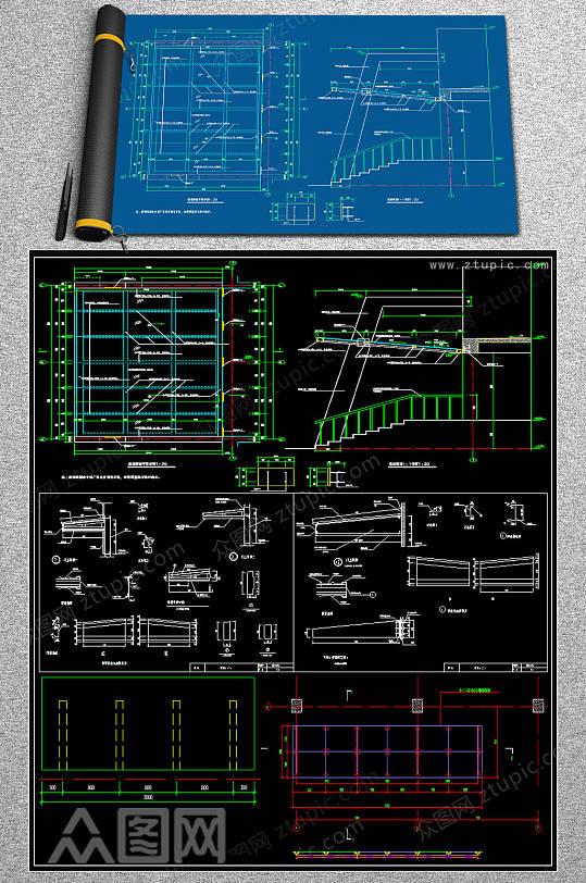 原创整套雨棚结构CAD施工图集-众图网