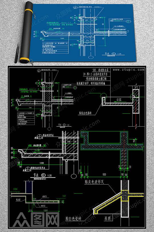 原创停车棚CAD施工图-众图网