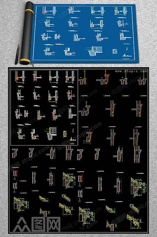 原创阳台建筑CAD施工图-众图网