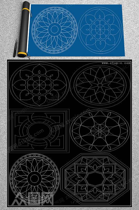 水刀拼花CAD素材-众图网