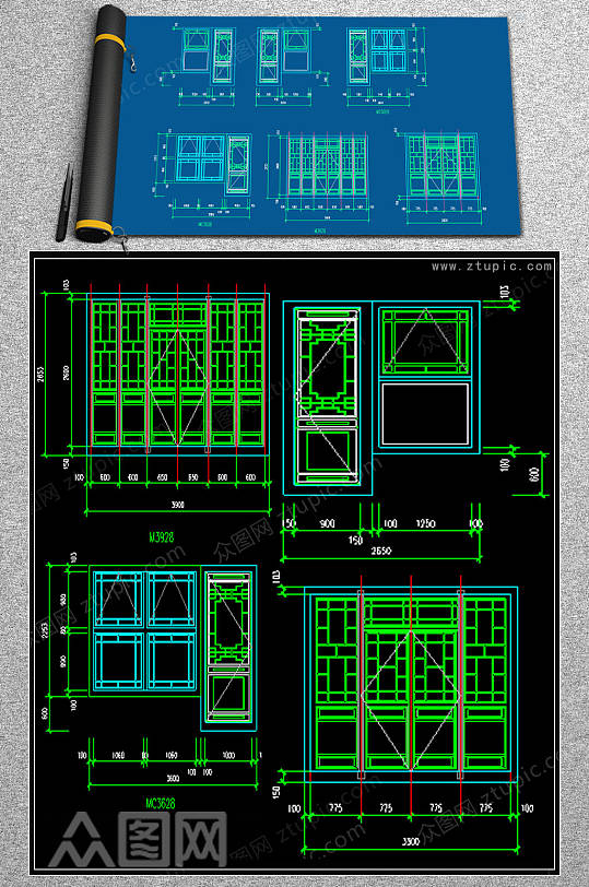 原创仿古门窗CAD素材-众图网