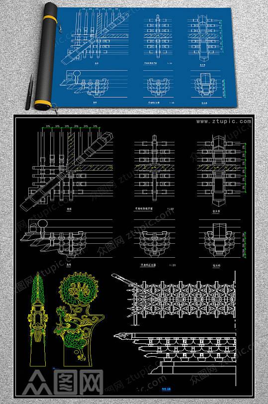原创雕花CAD模块-众图网