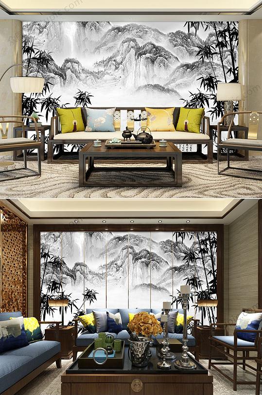 中国风水墨竹子背景墙-众图网