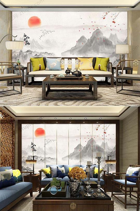 中式意境水墨客厅背景墙-众图网