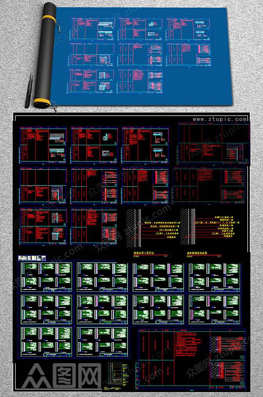原创木踢脚CAD素材-众图网