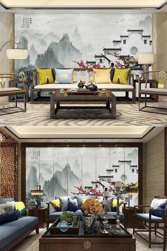 新中式徽派建筑背景墙-众图网