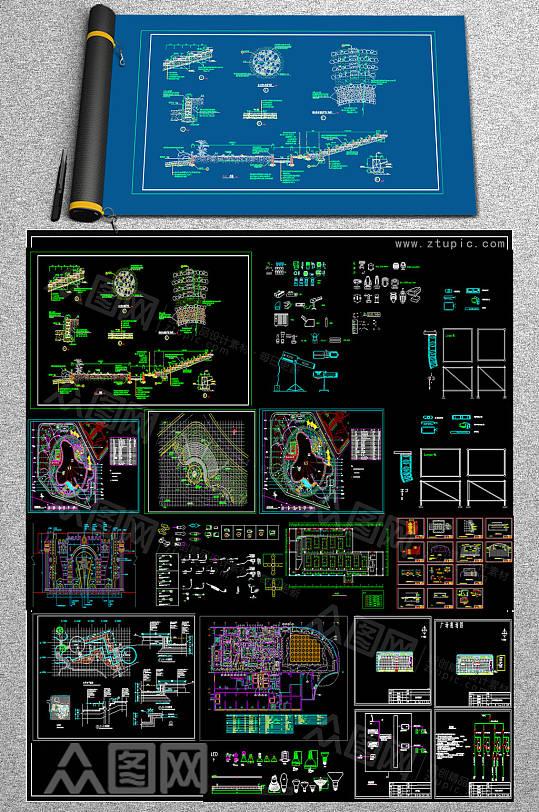 整套舞台CAD模板-众图网