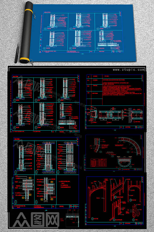 精品隔断CAD素材-众图网