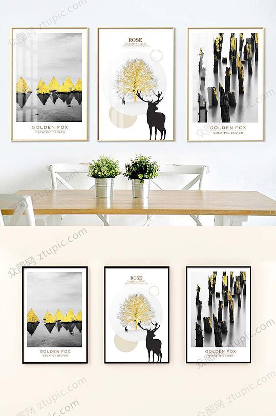 黑白铂金照片装饰画-众图网
