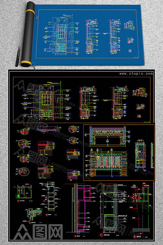 原创展柜CAD素材-众图网