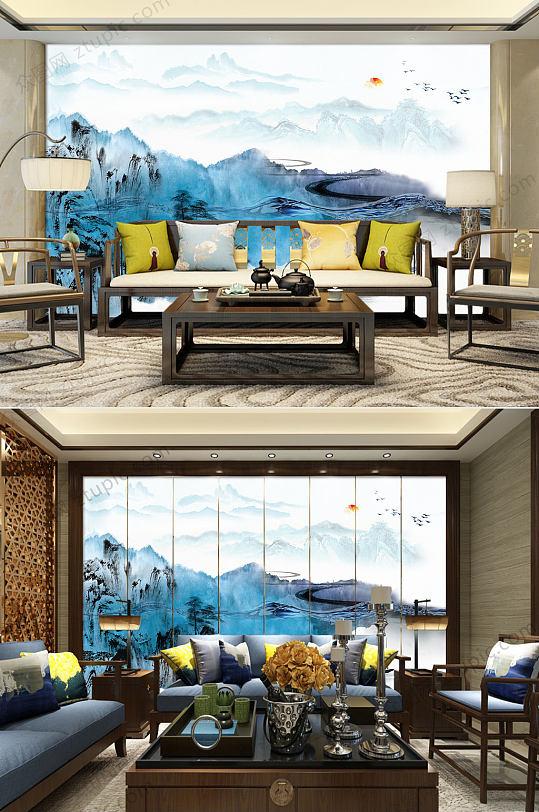 蓝色抽象水墨背景墙-众图网