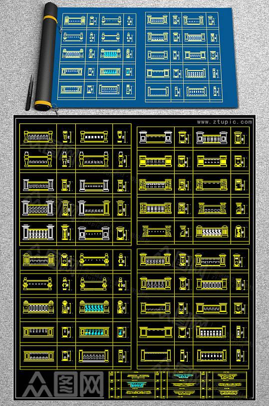 欧式柱子CAD图库-众图网