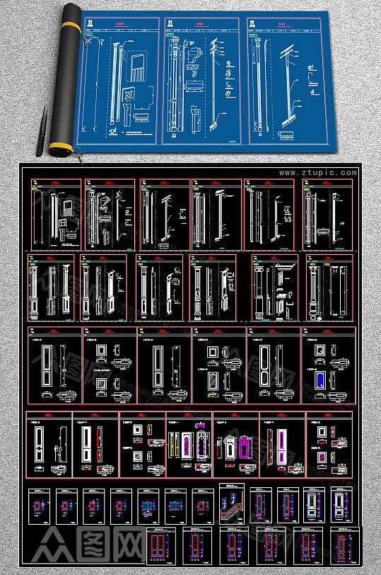 原创墙板CAD素材-众图网
