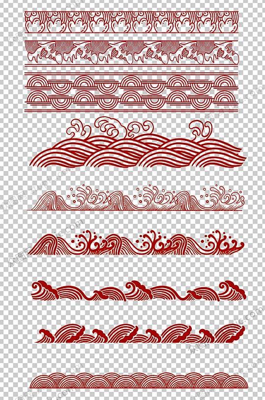 中式传统海浪免抠素材-众图网