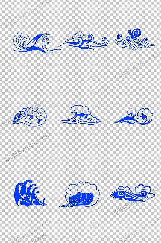 蓝色传统海浪免抠素材-众图网
