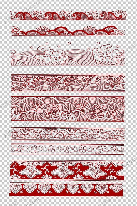 红色传统海浪免抠素材-众图网