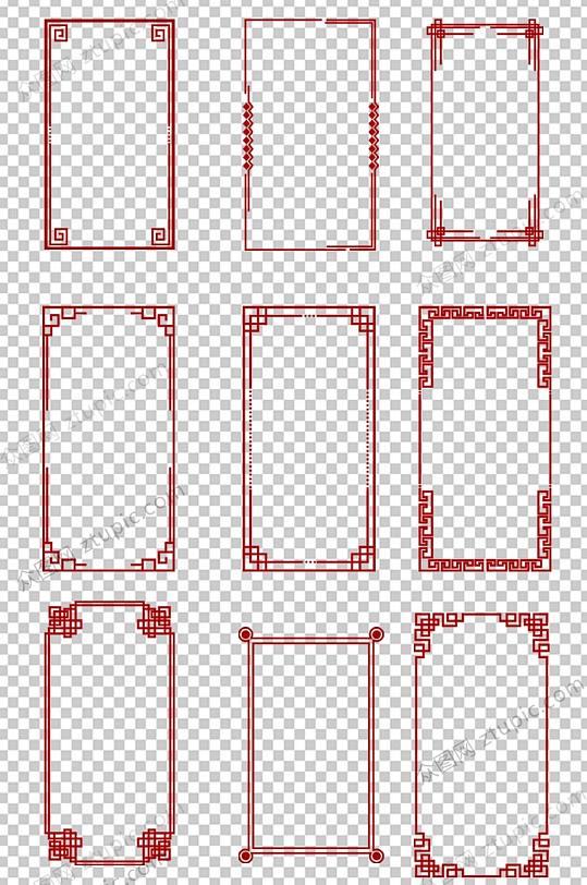 红色传统边框免抠素材-众图网