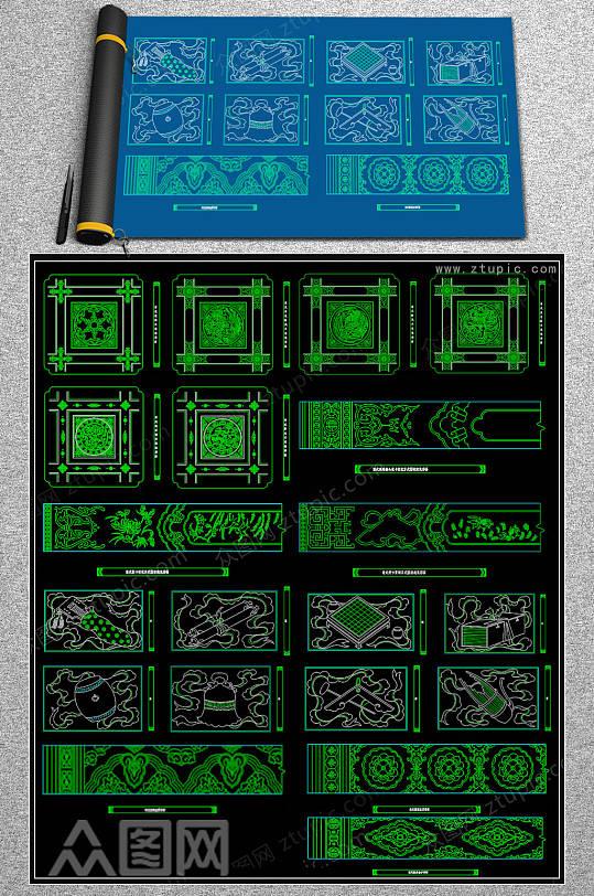 原创彩画CAD图集-众图网