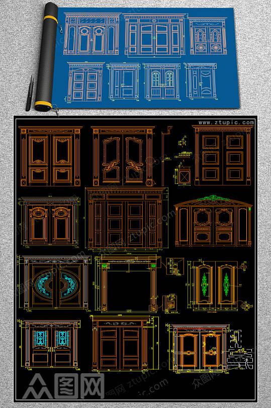 整木大门CAD模块-众图网