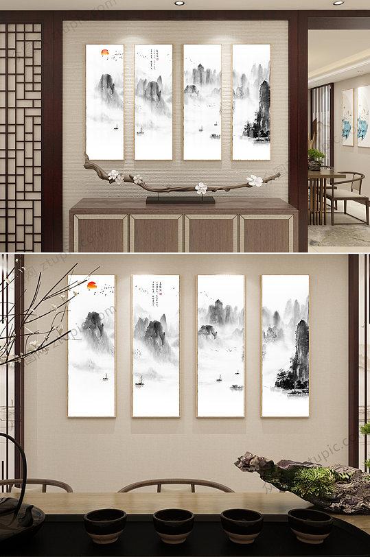 原创新中式意境抽象水墨山水客厅背景墙壁画