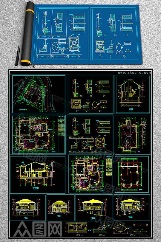 精品别墅CAD图库-众图网