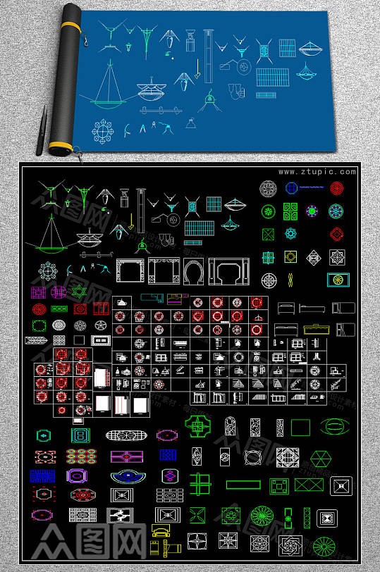 原创灯具CAD图库-众图网