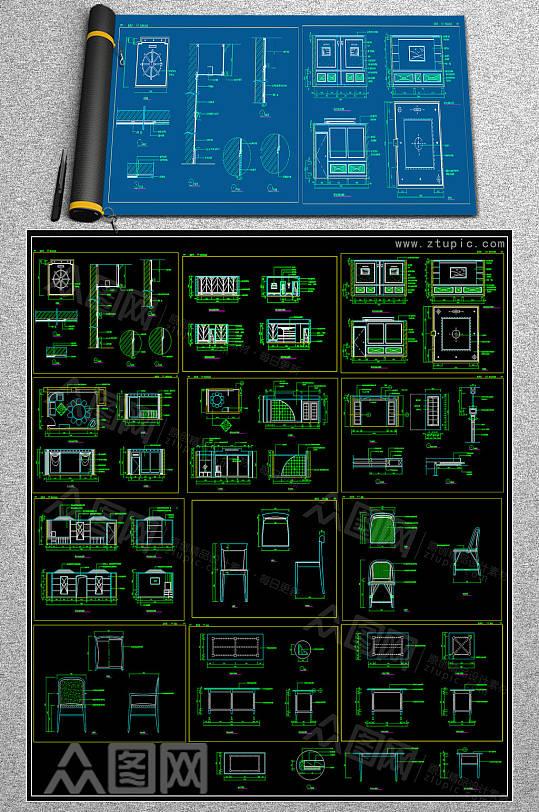 全新餐椅CAD合集-众图网