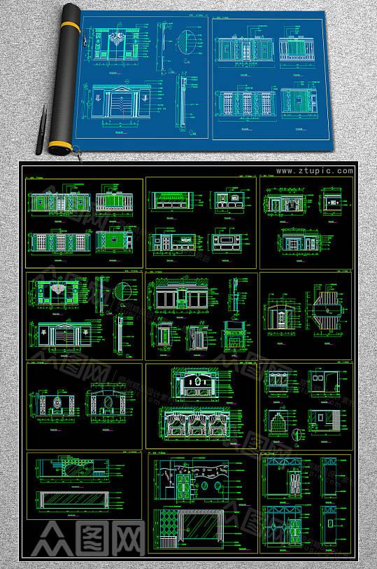 整套饭馆CAD图库-众图网
