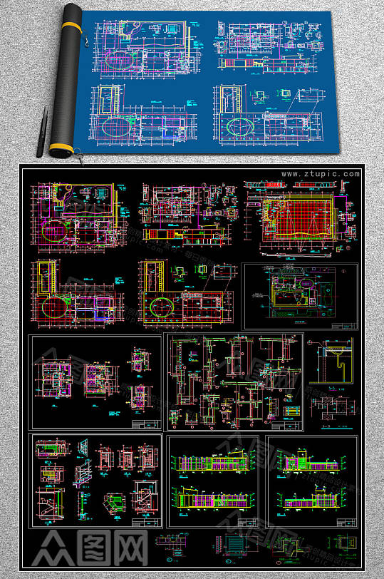 新款会所CAD施工图-众图网