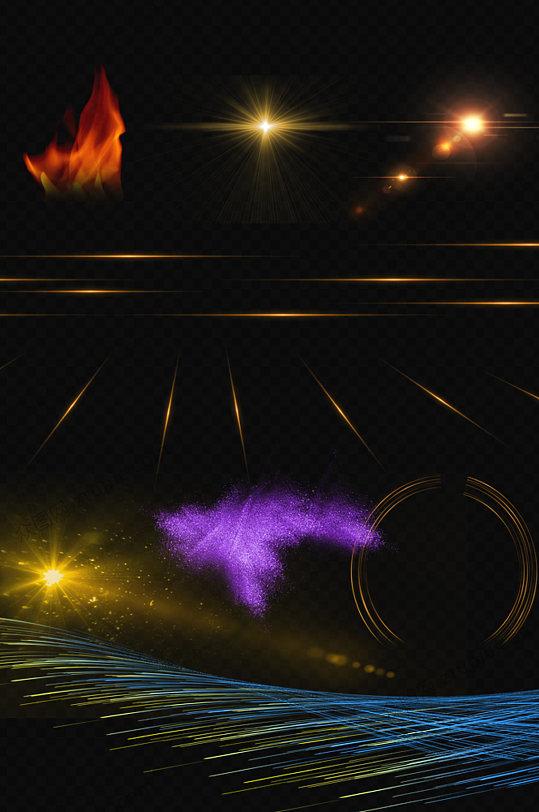 光效元素炫彩组合PNG-众图网