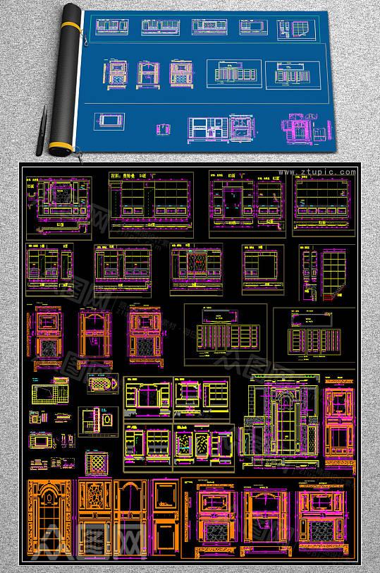 最新背景墙CAD设计-众图网