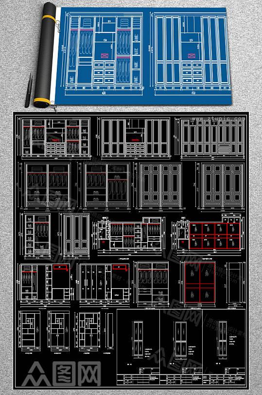 精品衣柜CAD效果图-众图网
