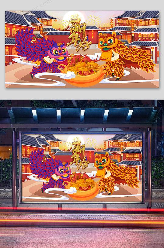 2020鼠年舞狮插画设计-众图网