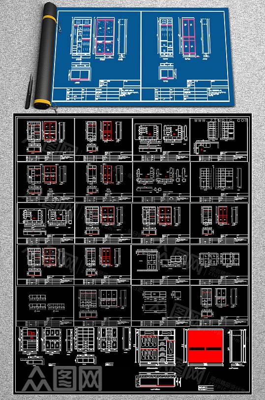 整套木柜CAD效果图-众图网