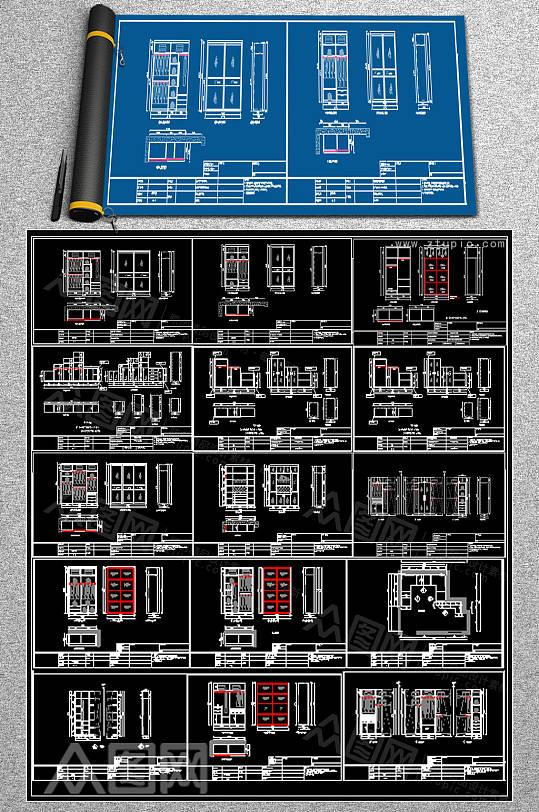 最新木柜CAD平面图-众图网