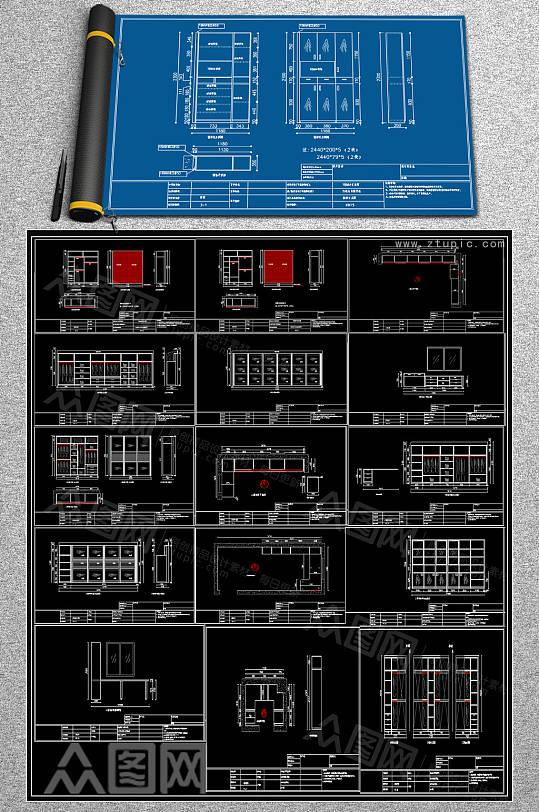 全新柜子CAD素材-众图网