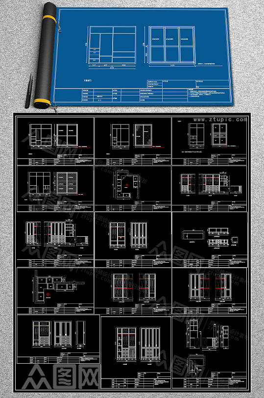最齐柜子CAD素材-众图网