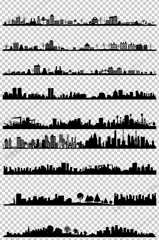 城市剪影元素免抠PNG素材-众图网