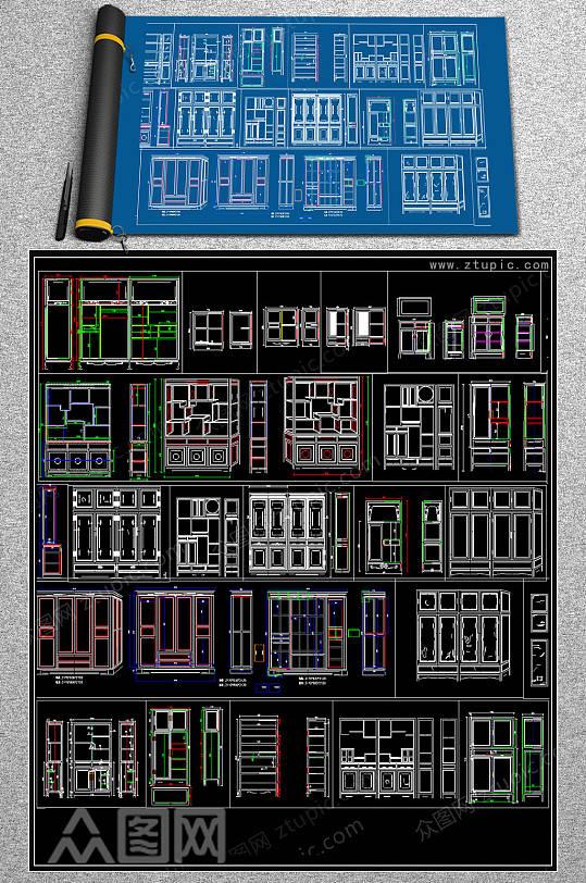 整木柜CAD大样图-众图网