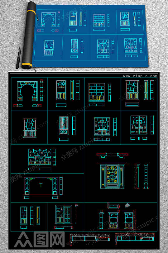 定制博古架CAD模版-众图网