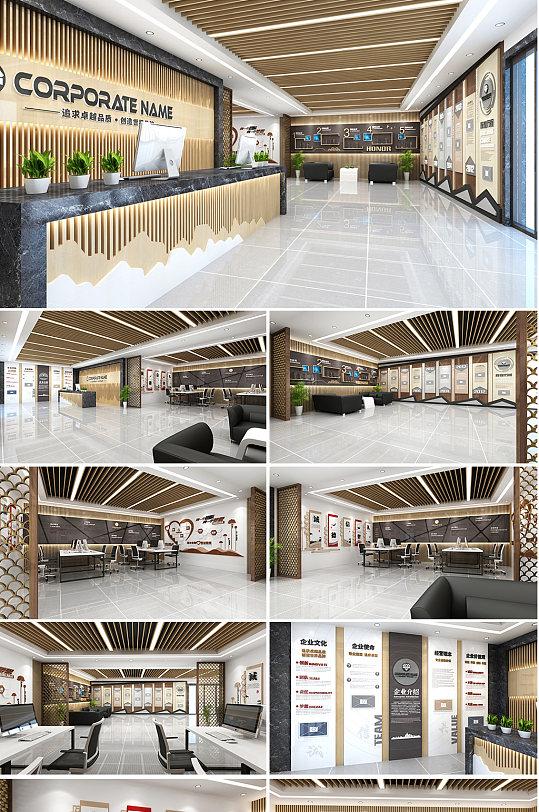 企业文化墙木纹展厅-众图网